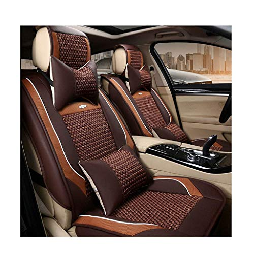 H.JPT autositzbezügeBrown Universal Leather Car Seat Cover 3D Stereo Style Comfort Wear-Resistant Seat Cover Cushion Comfort-stereo
