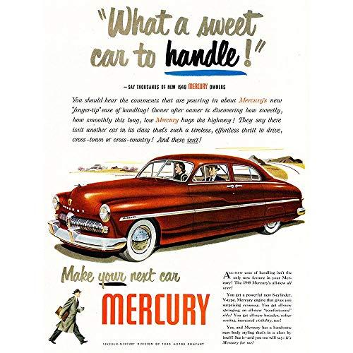 Wee Blue Coo LTD Advert Car Automobile Classic Mercury Sweet Handle Art Print Poster Wall Decor Kunstdruck Poster Wand-Dekor-12X16 Zoll (Billig 16 Ideen Sweet)