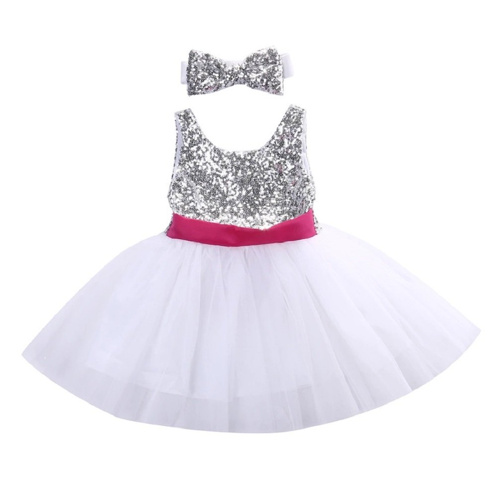 f0acde7ac White   Silver Sequins Party Wear Baby Girls Dress Pink Bow Knot ...