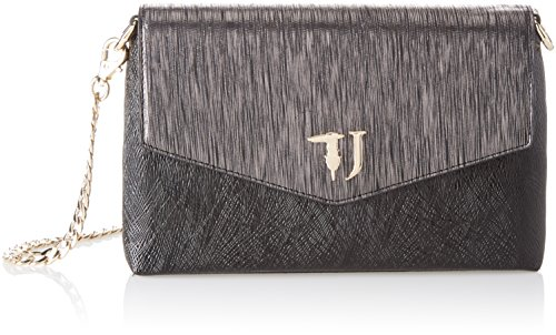 Trussardi Jeans Red Carpet Ecoleather Geometric Effect Enveloped, Sacs bandoulière femme, Noir (Black), 24x14.5x5 cm (W x H L)