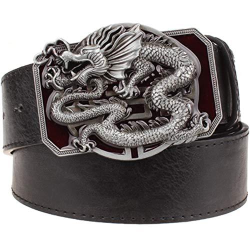 Cinturón de cuero de los hombres de moda Dragón Totem Punk Rock Estilo Heavy Metal Hebilla Salvaje Hip Hop Cinturón Dragón Chino Cinturón Para Hombres Regalo