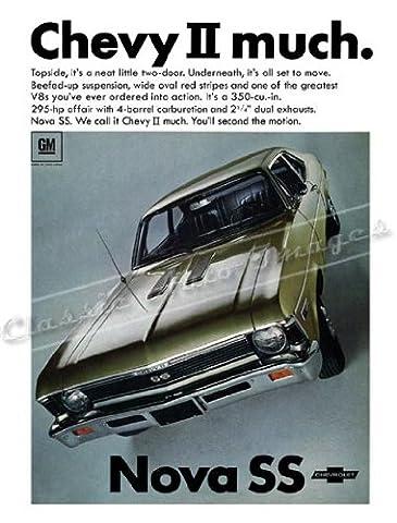 Classic und Muscle Car-Anzeigen und Auto Art 1968Chevrolet Nova SS AD digitalisierte, & Remastert Poster Print