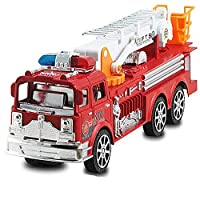 1:24 Fire Truck Toys Cool Toy Simulation Ladder Truck Fire Engine Model  Toy Inertia Fire Ladder for Baby Kids