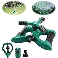 Arroseur de pelouse, Yokunat rotatif à 360° à 3branches Jardin Eau arroseurs Système avec 2différents modes de buse (Vert)