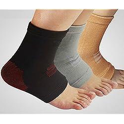 Fußgelenk-Bandage für den täglichen Gebrauch oder beim Sport zur Stabilisierung des Fuß bei z.B. Verstauchungen, Sprunggelenksverletzungen, Bänderriss, Außenbandverletzungen, Verletzungen des Syndesmosebandes, Bänderdehnung, Bänderzerrung - geeignet für Männer und Frauen - grau-weiss