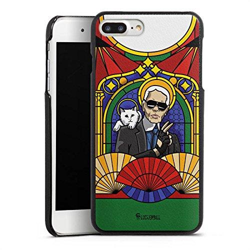 DeinDesign Apple iPhone 7 Plus Lederhülle schwarz Leder Case Leder Handyhülle Karl Lagerfeld Sonnenbrille Katze