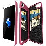 Coque iphone 7 portefeuille avec Miroir pour Les Femmes, Bidear Enfermé Miroir Arrière Cover avec 3 Cartes Bancaires Slot étui Dur avec HD Protection écran pour Apple iPhone 7 et iPhone 6 / 6s -4,7 pouces(Rose)