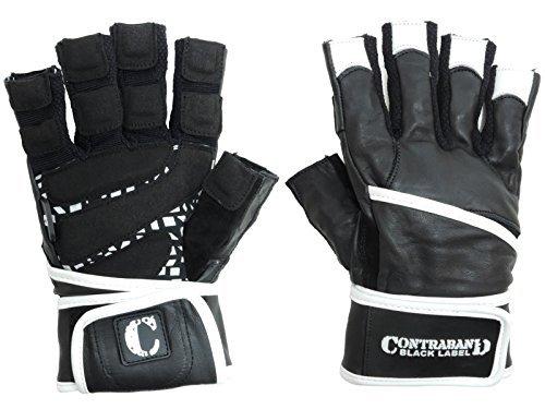 Contraband Black Label 5930Premium Leder Gewichtheben Handschuhe W/wrist-lock Handgelenk Unterstützung Wrap (Paar), schwarz / weiß -