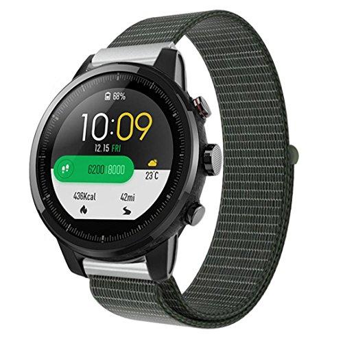 samLIKE Armband | für Huami Amazfit Stratos 2/2S | Nylon-Schleife | Streifen Design | Ersatzarmband | 240MM x 22MM | 5 Beliebte Stile (⭐️ Armeegrün)