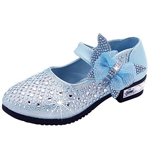 Sitaile bambina eleganti principessa scarpe di cristallo per ragazze festa di compleanno scarpe basse sandali bowknot ultimo design blu 29