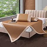 AMYDREAMSTORE Sommer Cool Mat,Sommer-matratzenauflage Dreiteilige Falten Bambus Bett matratze Topper 1.8m Dick Matten Student Single Rattan Sitze-Matte-A Full
