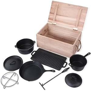 """Broil-master - Set d'ustensiles de cuisine pour camping - Casseroles et Poêle """"Dutch Oven"""" - en fonte - 7 pièces"""