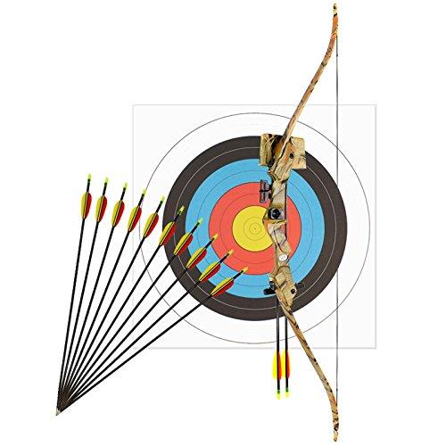 Kinderbogenset Komplettset Man Kung Recurvebogen Hawk® Autumn Camo 117 cm / 17-21 lbs RH + 12 Pfeile + Zielscheibe 60 cm