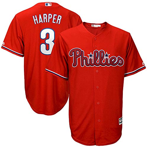 YQSB Jersey Baseball Major League Baseball # 3 Harper Philadelphia Phillies Baseballuniform,Red,Men-XXXL