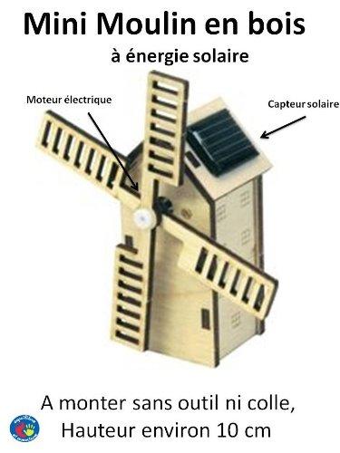Petit Moulin à vent en bois à énergie solaire