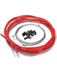 Sonline Bicicleta de la bici completa delantera y trasera Interior Exterior alambre engranaje freno Cables - Rojo