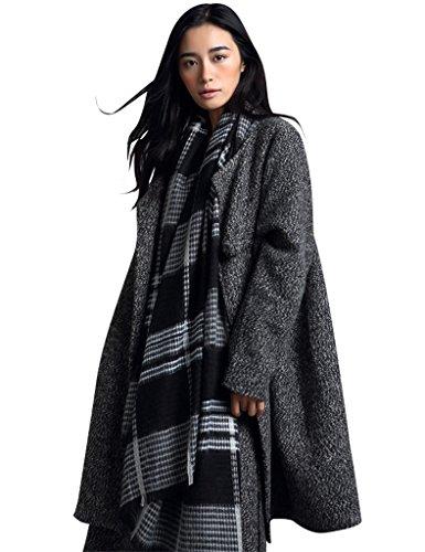 Youlee Damen Round Collar Dicke Jacke Wollmantel Style 2 Grau