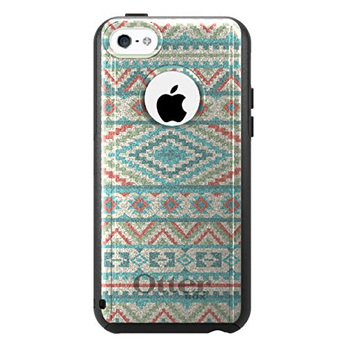 DistinctInk Fall für iPhone 5C Otterbox Commuter Gewohnheits-Fall Blau Orange Weiß Stammes- Druck auf Schwarz-Fall (5c Fällen Otter Box Blau)
