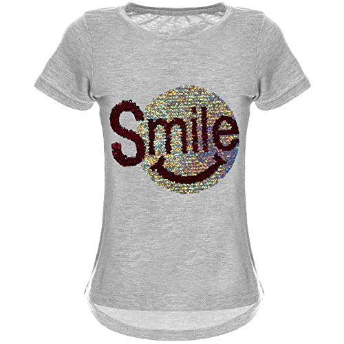 BEZLIT Mädchen Wende-Pailletten T-Shirt Tollem Motiv 22030 Grau Größe 140