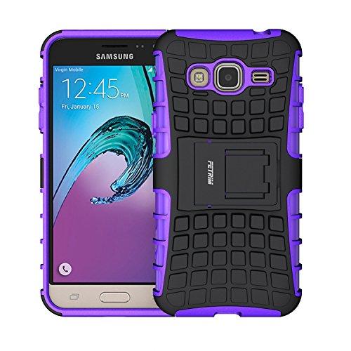 Galleria fotografica Custodia Galaxy J3 (2016) ,Fetrim Cover , Protettiva Stand Case,Shock-Absorption Bumper Rugged Armor super protettiva Case per Samsung Galaxy J3 (2016) (Viola)