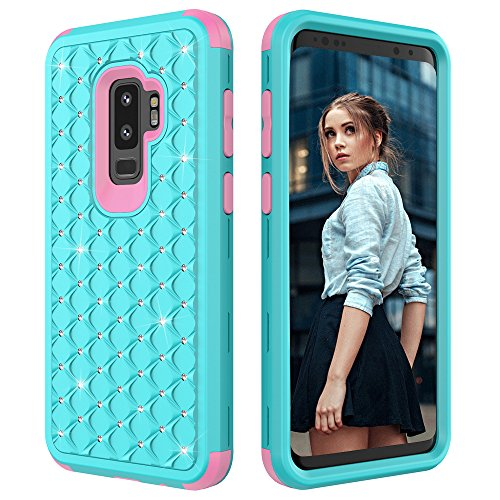 Galaxy S9 Plus Fall, kudex 360 Full Schutz Heavy Duty High Impact Kratzfest Sparkly Crystal Bling Hybrid Hard PC + Weiches Silikon Bumper Smartphone Case Cover Haut für Samsung Galaxy S9 Plus, Mint Bling Hard Case Cover