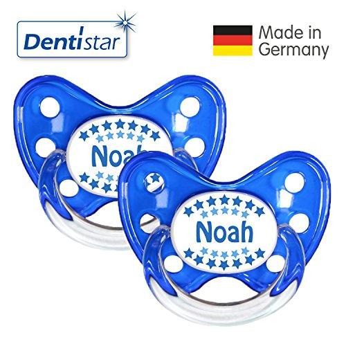 Preisvergleich Produktbild Dentistar® 2er Set Silikon-Schnuller - Größe 3 ab 14 Monate - Nuckel zahnfreundlich & weich für Babys ab dem ersten Backenzahn, Blau Noah