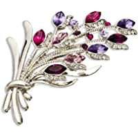 14K oro, argento rodiato Swarovski GRANDI stile vintage con mazzo di fiori spilla, Janeo Jewels