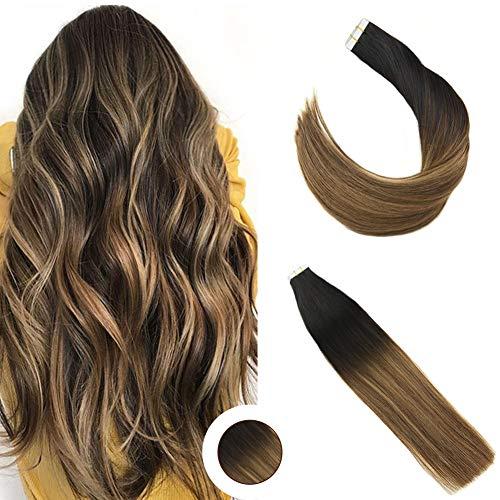 Ugeat 50g/20pcs Balayage Echthaar Haarverlangerung 22Zoll #1B nach #4 mit #27 Echthaar Klebe Extensions Echthaar Schwarz mit Dunkelbraun bis Karamell Blond