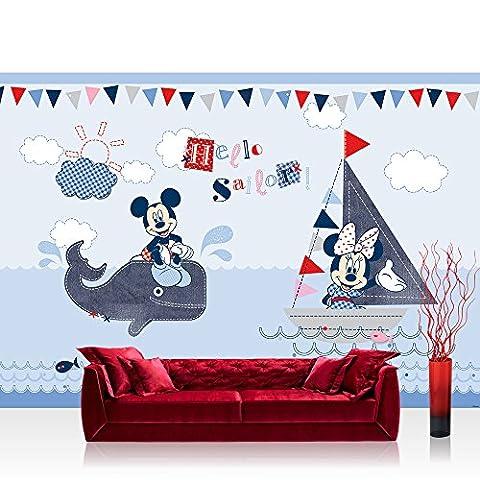 Fototapete 254x184 cm PREMIUM Wand Foto Tapete Wand Bild Papiertapete - Disney Tapete Micky Maus Hello Sailor Wal Segel Boot Mickey Mouse Cartoon blau - no. 3166