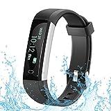 RobotsDeal Unisex U2 Step Activity Tracker Waterproof Fitness Calorie Counter Pedometer Smart Watches for Kids Women Men, Black, IP67