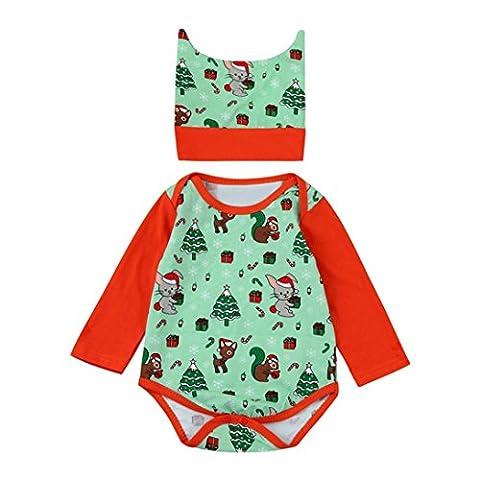 Baby Strampler Hirolan Babykleidung Günstig Weihnachten Karikatur Süß Spielanzug + Hut Neugeboren Baby Mädchen Jungen Lange Hülse Outfits 2Stk Party Kleider Set (70cm, Grün)