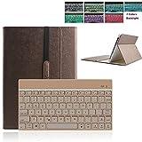 Boriyuan Samsung Galaxy Tab S2 9.7 Bluetooth Tastatur Hülle Keyboard Leder Case Cover mit Alu Bluetooth Tastatur (Deutsche QWERTZ) abnehmbar für Samsung Galaxy Tab S2 9.7 SM-T810/T815 (Braun)