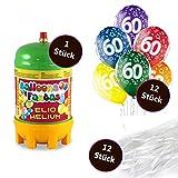 deqoo Helium Set 2 x Premium Luftballon 6er-Set zum 60. Geburtstag 30cm 12