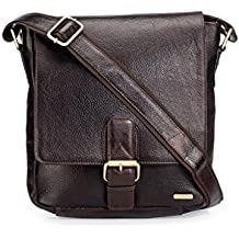 TEAKWOOD Handcrafted Real Leather Cross-Body Sling Bag (Brown)