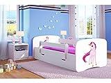 CARELLIA 'Kinderbett Einhorn 80x 180cm mit Barriere Sicherheitsschuhe + Lattenrost + Schubladen + Matratze Offert.–Weiß