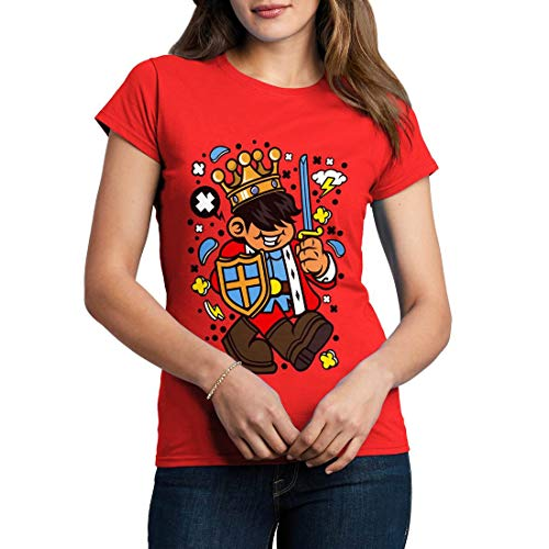 C574WCNTR Damen T-Shirt King Kid Retro Crown Queen Sword Kingdom Throne Gold Emperor Prince Duke Imperial Royal(Large,Red) -