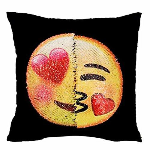 wendbar Emoji-Kissen Fall, Magic auswechselbare Face Zwei Seiten Zwei Kopfkissenbezügen Moods Glitzer Pailletten Dekorative Quadratischer Kissenbezug, Sofa Auto Bett Cafe Home Decor 40cm 7Farbe von fat. chot, D, 40*40cm