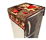 The Decor Hub 3D Digital Printed Jute Fabric Refrigerator Cover with 3 Pockets on Both Side (Multicolour)