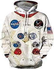 Unisex Pullover Men's Sweatshirt Hoodie NASA Print Hoodie Astronaut Print Hoodie Drawstring with Kangaroo