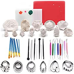 AK ART KITCHENWARE Gum Paste Flower and Leaf Kit 12sets Silicone Flower Mold 5sets Steel Petal Cookie Cutter 1 Veining Board 1 Flower Foam Pad 10 Brushes 3 Frilling Sticks 4 Cake Carved Pens 8 Modelling Tool