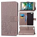 Guran® PU Ledertasche Case für Elephone M2 Smartphone Flip Cover Brieftasche und Stent Funktionen Hülle Glücksklee Muster Design Schutzhülle - Grau