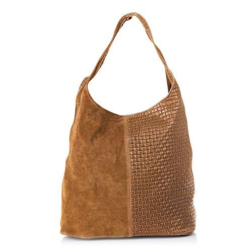 Firenze ARTEGIANI.Bolso Shopping Bag de Mujer Piel auténtica.Bolso Cuero Genuino Piel Grabado...