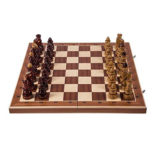 Preisvergleich Produktbild Schach Schachspiel BYZANZ - 60 x 60 cm - Mahagoni - Schachfiguren geschnitzt aus Holz