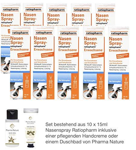 Nasenspray Ratiopharm 10 x 15 ml Sparset inkl. einer hochwertigen Handcreme o. Duschbad von Pharma Nature