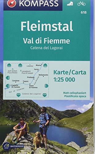 Carta escursionistica n. 618. Val di Fiemme, Catena del Lagorai 1:25.000: Wanderkarte mit Radrouten. GPS-genau. Dt. /Ital. 1:25000