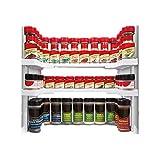 apilables Especiero Cocina Organizador estantería Especias Soporte de hierbas Estantería Estantería de almacenaje ajustable estante para armarios hasta 64 Especias para latas y vasos para armarios de