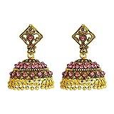 Jewlot Traditional Pink Metal Diamond Kundan Jhumkas For Women