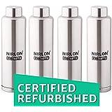 (Renewed) Nirlon Stainless Steel Water Bottle Set, 1 Litre, 4-Pieces, Silver (FB_1000_1000_1000_1000)