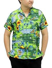 La Leela bouton caribbean paradis hawaïen bas courts surfeurs manches stag détendue aloha chemise ajustement hommes verts xs - 5xl