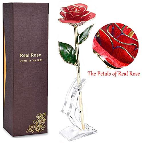 N2N Vergoldete Rose, 24k Gold Rose Handgefertigt Forever Konservierte Rose Künstliche Blume mit Stand und Geschenkbox für Frau Freundin/Muttertag/Geburtstag/Hochzeitstag/Künstliche Echt Rose(Rot) Vergoldete Rose